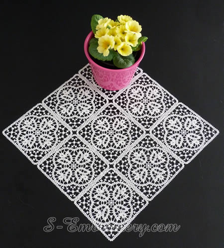 Battenburg free standing lace tulip squares doily