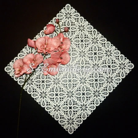 Free standing Battenburg lace doily