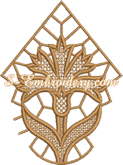 Cornflower free standing lace machine embroidery design