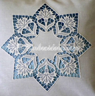 Cornflower free standing lace machine embroidery