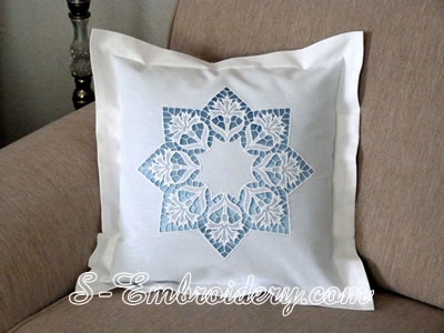 Pillow case with cornflower free standing lace embroidery