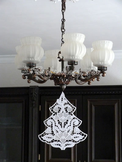 Free standing lace Christmas tree window decoration