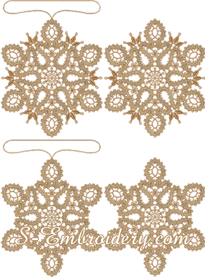 Battenburg free standing lace snowflake Christmas ornament set