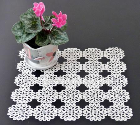 Battenburg lace doily machine embroidery