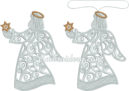 Christmas Angel Free Standing Lace Machine Embroidery Design Sku 10625
