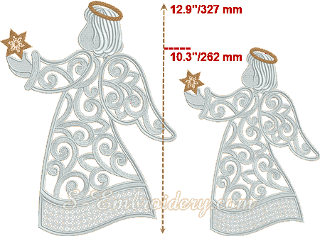 Comparison between large and small Christmas angel ornament