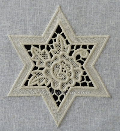 Cutwork lace star machine embroidery design