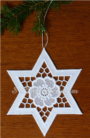 Free standing lace star ornament