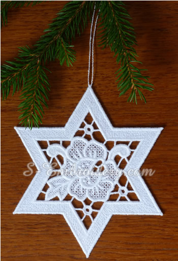 Star free standing lace Christmas ornament