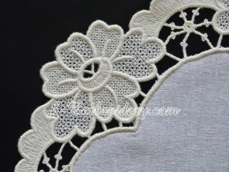 Free standing lace ellipse doily  - detail view