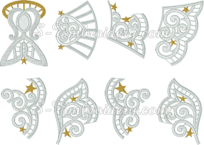 Freestanding lace Christmas angel ornament parts