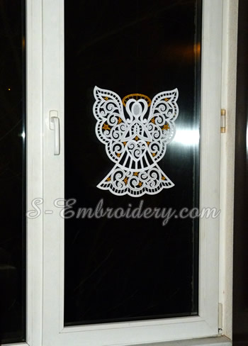 Christmas angel freestanding lace window ornament