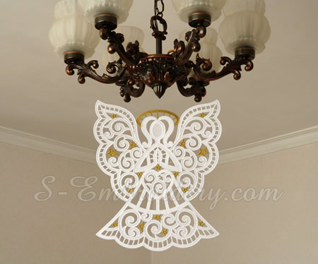Christmas angel free standing lace ornament