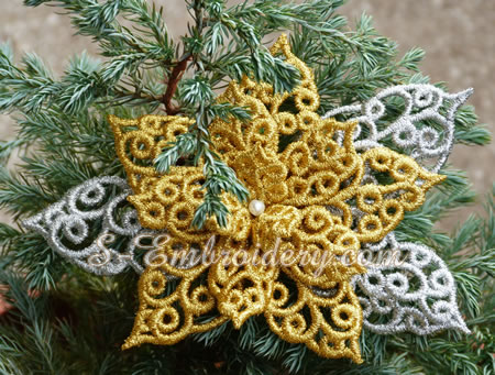 Poinsettia freestanding lace Christmas ornament