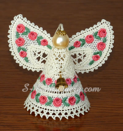 3D Battenburg lace angel machine embroidery design