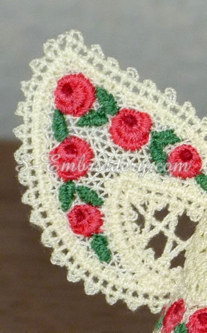 Battenburg lace machine embroidery detail - angel wing