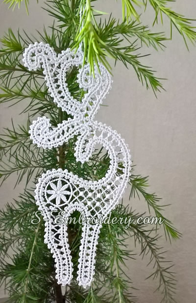 Free standing lace Reindeer Christmas tree ornament