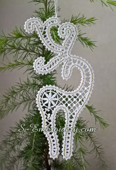 Battenburg lace Reindeer Christmas tree ornament