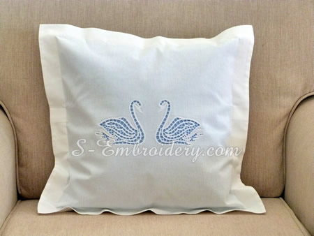 Swans cutwork lace machine embroidery design