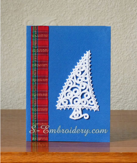 Hand made Christmas card with free standing lace ornament