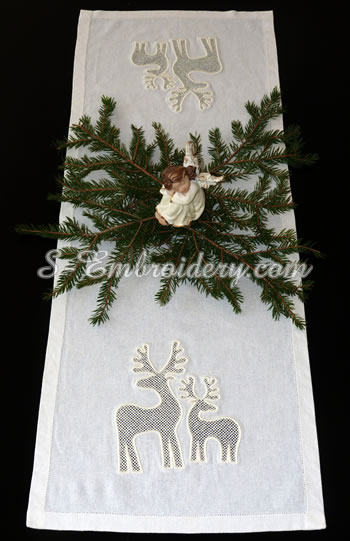 Christmas table runner with reindeer cutwork lace machine embroidery