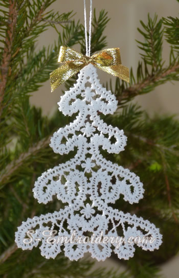 Battenburg free standing lace Christmas tree machine embroidery