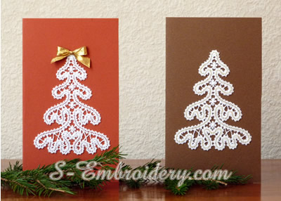 Greeting cards with Battenburg free standing lace Christmas tree