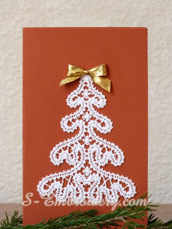 Battenburg free standing lace Christmas tree ornament