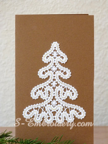 Christmas tree machine embroidery in Battenberg lace