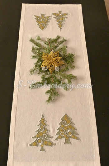 Christmas tree applique embroidery set
