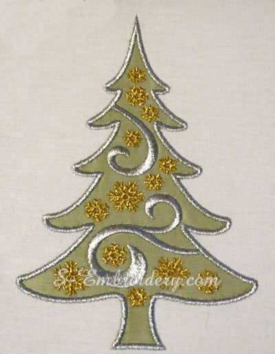 Christmas tree applique machine embroidery design