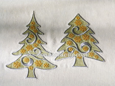 Christmas tree applique machine embroidery designs