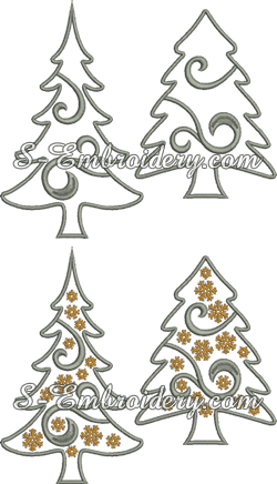 Christmas tree applique machine embroidery set