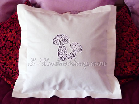 A pillow case with mushrooms cutwork lace machine embroidery