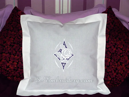 Pillow case with rose cutwork decoration