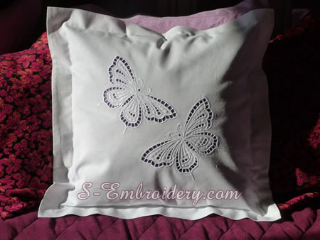 Pillowcase with butterfly cutwork lace embroidery