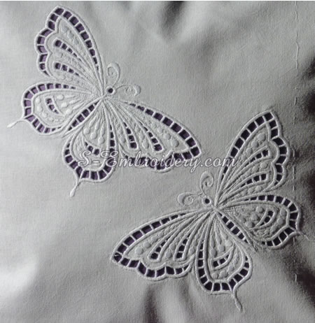 Butterfly cutwork lace embroidery
