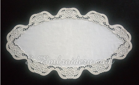 Freestanding lace machine embroidery - ellipse doily project