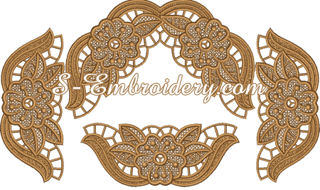 Ellipse doily free standing lace machine embroidery set