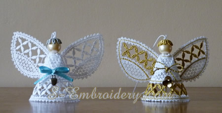 Christmas angel 3D Battenberg lace machine embroidery