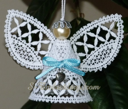 Christmas angel 3D Battenberg lace machine embroidery - single color version