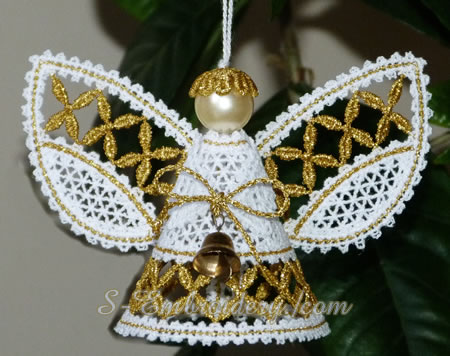 Christmas angel 3D Battenberg lace machine embroidery - gold version