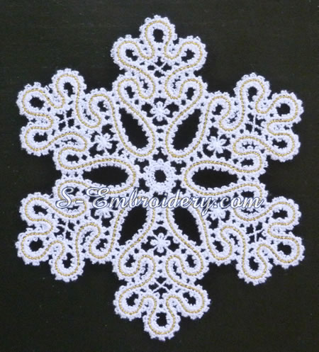 Battenberg lace snowflake ornament #4