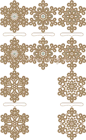 Set of 10 freestanding lace snowflake Christmas ornaments
