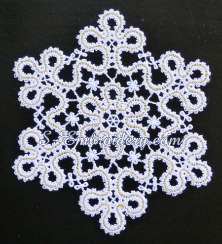 Battenberg lace snowflake ornament #5