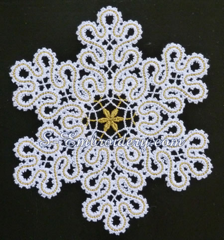 Battenberg lace snowflake ornament #1