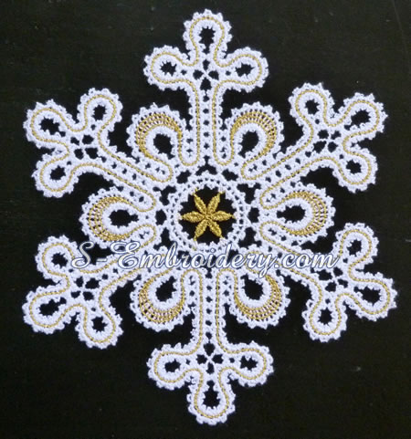 Battenberg lace snowflake ornament #2