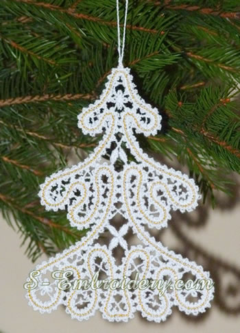 Free standing lace Christmas tree ornament