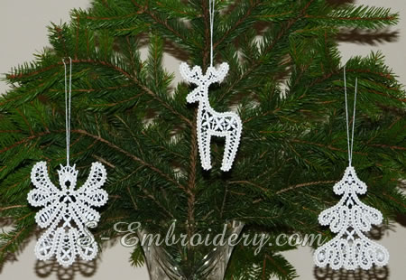 Christmas tree ornaments in free standing Battenberg lace