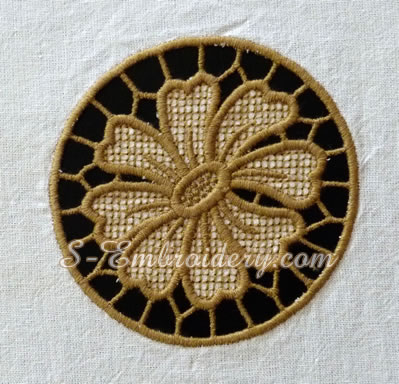 Daisy cutwork machine embroidery design #3